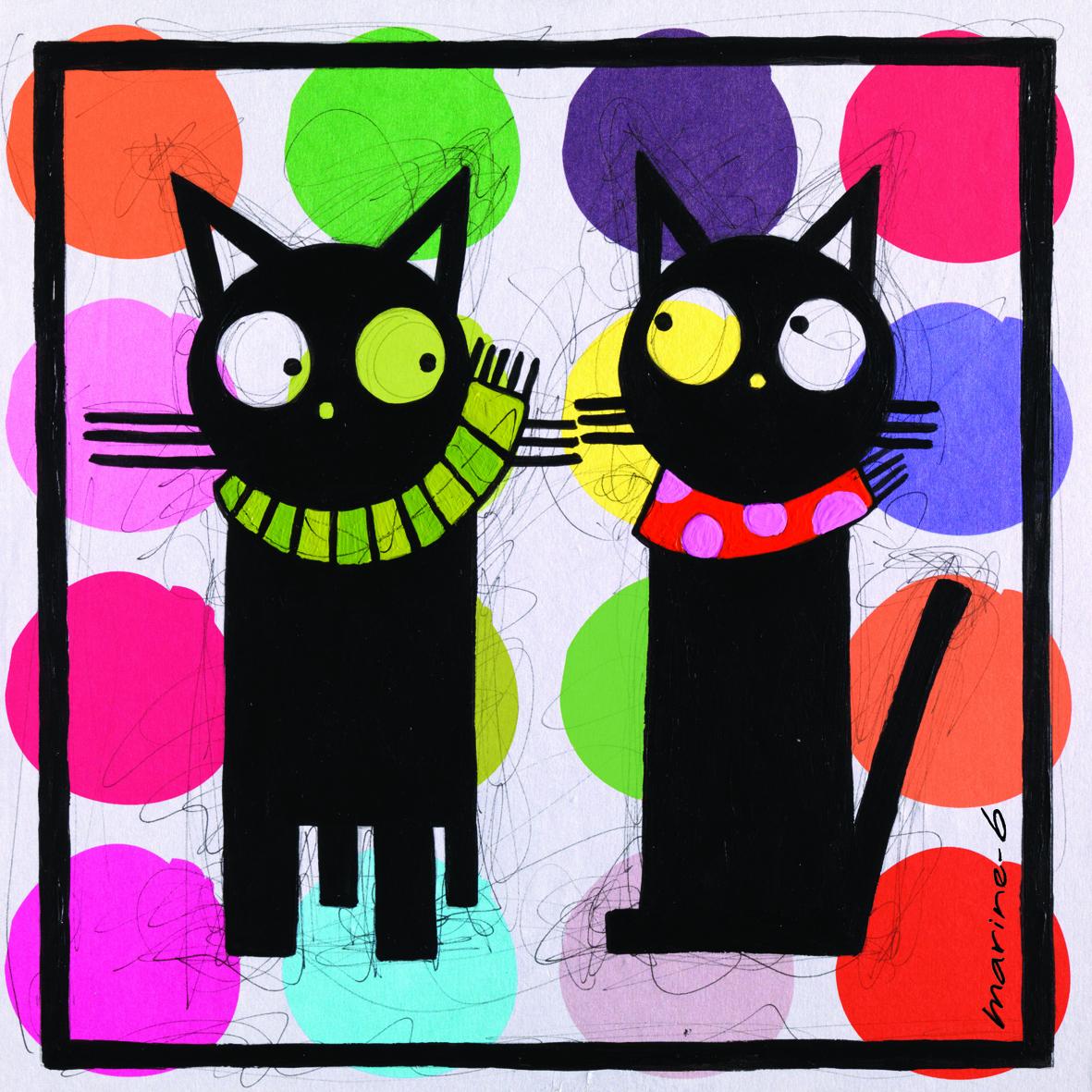 le carr de soie les 2 chats marine b. Black Bedroom Furniture Sets. Home Design Ideas