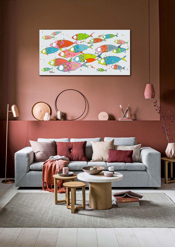 le tableau cailles de poissons marine b. Black Bedroom Furniture Sets. Home Design Ideas